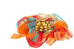 Gold Sparkly Bow on Bright Ribbons Stock Image