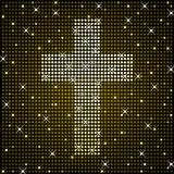 Gold sparkly cross Stock Photo