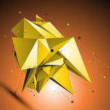 Gold spatial technological shape, polygonal wireframe Royalty Free Stock Image