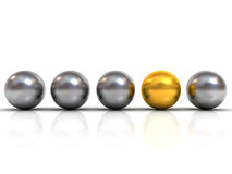 Gold sphere ball among silver sphere balls stand out from the crowd Stock Photos