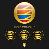 Gold sphere emblem Royalty Free Stock Images