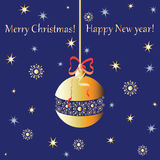 Gold sphere. Greetings from the Christmas toys. Royalty Free Stock Photography