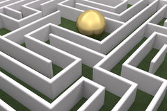 Gold sphere in the labyrinth. A big gold sphere inside a white labyrinth Stock Illustration