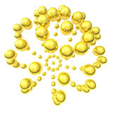 Gold sphere made from spheres 3d Royalty Free Stock Image