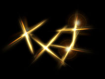 Gold spikes. Four gold spikes on a black background Royalty Free Stock Photography