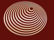 Gold Spiral. Gold 3D effect spiral design on maroon background; computer illustration Royalty Free Stock Photo