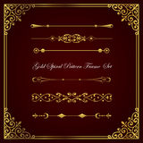 Gold spiral pattern frame and border collection. Royalty Free Stock Photography