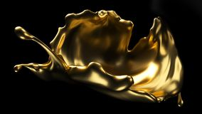 3D Splash. Gold splash on black background. 3d rendering vector illustration