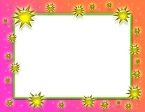 Gold Splash Frame. Frame with orange and pink gradient background, gold splashes, sparkles and a white text area surrounded by neon green stock illustration
