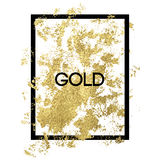 Gold splash on frame on white background stock illustration