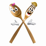 Gold Spoon fork character on welcome pose Royalty Free Stock Photos