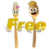 Gold Spoon Fork Character With Free Sign Symbol Royalty Free Stock Photo