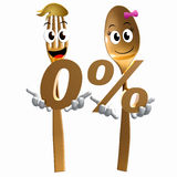 Gold spoon fork with zero percent promo offer Stock Image