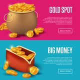 Gold spot and big money posters. Golden coins in old bronze pot and purse. Big profit and save money banner, money making concept, bank deposit, financial Royalty Free Stock Photos