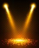 Gold spot light beams on stage royalty free illustration