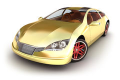 Gold spotcar on white Royalty Free Stock Photography