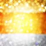 Gold spring or summer background. Elegant abstract background with bokeh defocused lights Stock Image