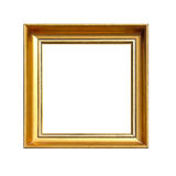 Gold Square Frame. Isolated Included Clipping Path Stock Photography