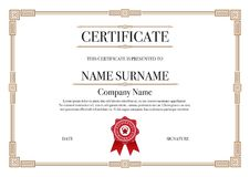 Gold Square shape with 3 stripes element Certificate border for Excellence Performance royalty free stock image
