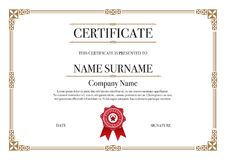 Gold Square shape with 3 stripes element Certificate border for Excellence Performance stock photos