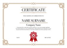 Gold Square shape with 3 stripes element Certificate border for Excellence Performance Stock Image