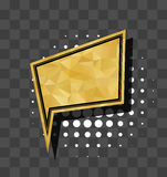 Gold square sparkle comic text bubble Royalty Free Stock Images
