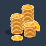 Gold stack of dollar coins. Vector isometric icon on a colored background Stock Image