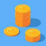 Gold stack of euro coins. Money icon in isometric style. Business and finance concept. Vector illustration sign on a blue background Stock Image