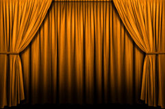 Gold Stage Curtain. With light and shadows Stock Image