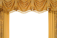 Gold stage curtain. Isolated on white Royalty Free Stock Photography