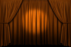 Gold Stage Curtain With Spotlight Stock Photography