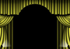 Gold Stage Curtains. Gold curtains open with spotlights Stock Photo