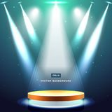 Gold stage with spotlight and star on deep blue sea background. Vector Stock Photography
