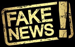 gold stamp with text Fake News royalty free illustration