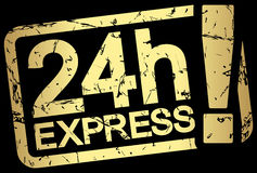 Gold stamp with text 24h Express. Grunge stamp with frame colored gold and text 24h Express Royalty Free Stock Images
