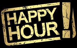 Gold stamp with text Happy Hour. Grunge stamp with frame colored gold and text Happy Hour vector illustration