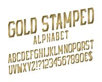 Gold stamped alphabet witn numbers, dollar and euro currency signs, exclamation and question marks.  stock illustration