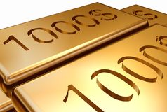 Gold with stamping dollar stock images