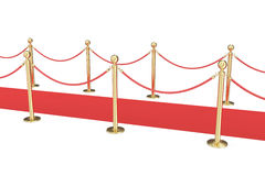 Gold stanchions and a red velvet carpet isolated on white. 3d illustration Stock Images