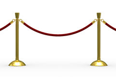 Gold stanchions on white background Stock Photos