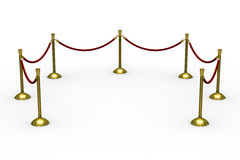 Gold stanchions on white background Stock Images