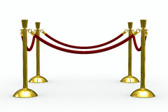 Gold stanchions on white background Royalty Free Stock Photography