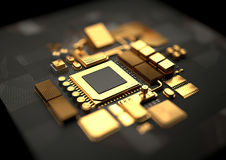 Gold Standard CPU Motherboard Royalty Free Stock Photo