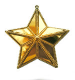 Gold star. Christmas decoration isolated on white background made of glass and metal Royalty Free Stock Images