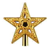 Gold star. Christmas gold star on white background Stock Photos