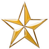 Gold Star. Isolated on white background Stock Photos