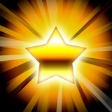 Gold star. And gold background illustration Royalty Free Stock Image