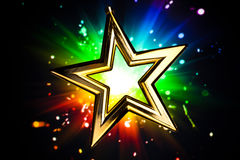 Gold star. Against multicolor shiny background Royalty Free Stock Images
