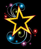 Gold star. Big gold star on black background with flares and glowing stars Royalty Free Stock Photography