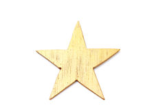 Gold Star. Wooden gold star  on white Stock Images